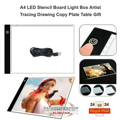A4 Ultra Slim LED Drawing Board Art Craft Copy Tracing Light Scales Pad Board