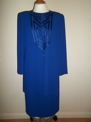 Frank Usher Royal Blue Skirt Top Jacket Suit Outfit Size 14 Wedding Party Smart