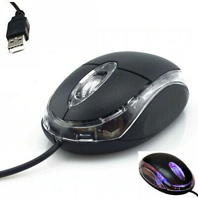 Wired Usb Optical Mouse For Pc Laptop Computer Scroll Wheel - Black Uk