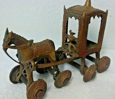 "Antique Early 1900's Brass 8"" Horse & Carriage With Wheels From India"