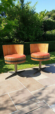 Kitsch mid century pair barrel chairs antique retro Part of collection for sale