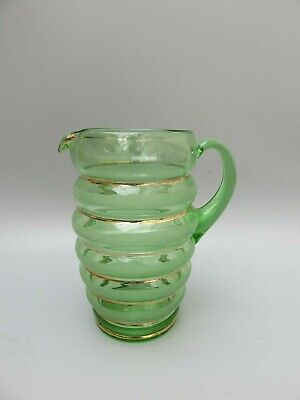 "Vintage Green Glass With Gold 1.2 L Water Jug - 7 1/2"" Tall"