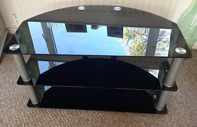 """Black Tempered Glass 3 Tier Tv Stand Size L 37"""" X H 21"""" X D 21"""" Collection Only"""