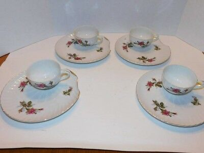 Set of 4 Japan Rose Scallop Shell Snack Tea Luncheon Plate and Gold Trim and cup