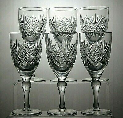 """Lovely Lead Crystal Cut Glass Claret 7 Oz Wine Glasses Set Of 6 - 6 2/3"""" Tall"""