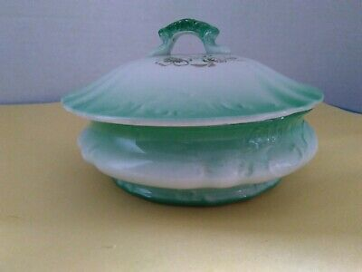 Antique Rare Homer Laughlin Covered Dish  Delicate Green Floral