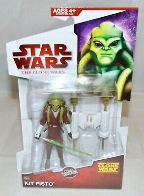 "New 2009 Hasbro Star Wars The Clone Wars 3.75"" Kit Fisto Action Figure Sealed"
