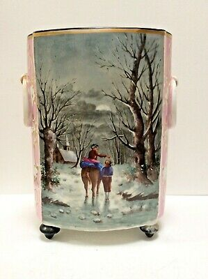 Large Antique Hand Painted Continental Porcelain Double Sided Vase