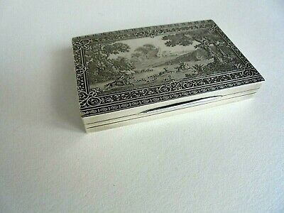 Antique 19c French Silver Hunting Snuff Box