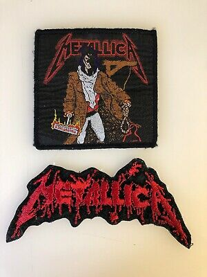 2 Vintage 90's Metallica Embroidered Patch Lot Used Pushead Unforgiven Thrash