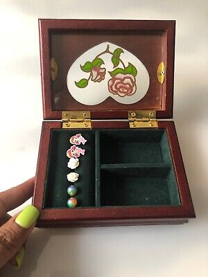 Jewelry Box Small Wood Mother of Pearl Dolphin Design BoHo Pot Joint Hash Stash