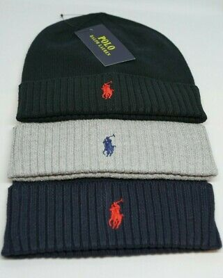 Polo Ralph Lauren Beanie Hat Brand New Blue Grey Black One Size Unisex Adults