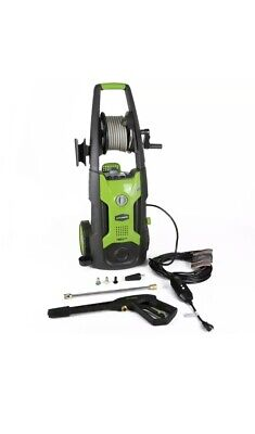 Greenworks 5100302 Electric High Pressure Washer with 25 Foot Hose Reel, Green