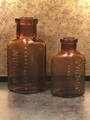 Poison Bottle Cork Top Dark Brown Amber Ribbed Glass Bottle Pharmacy Apothecary