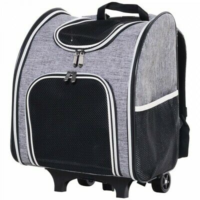Pawhut Pet Travel Trolley Suitcase Airline Suitable Carrier Backpack W/ Mesh