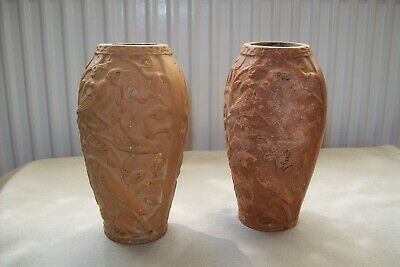 Two Matching Antique Terracotta Vases, Birds In A Tree Design