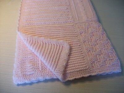 "Crochet Baby Blanket Handmade Large Textured Granny Squares Light Pink 42"" x 34"""