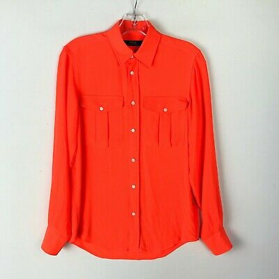 Polo Ralph Lauren Womens Button Down LS Blouse Bright Orange - Extra Small XS