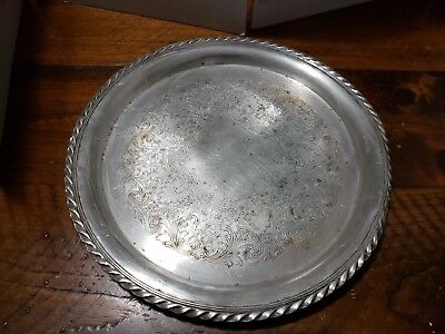 "Vintage WM ROGERS #471 - 12.25"" Silver Plate Round Serving Tray"