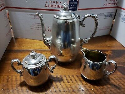 Vtg Wm Rogers Silverplate Silver 101 Coffee Teapot Sugar 103 Creamer 104 Set 3
