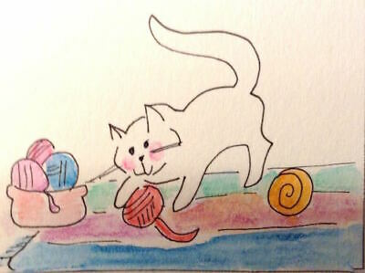 ACEO Art Card Original Watercolor Signed Yarn Ball Playing Tabby Cat MiloLee