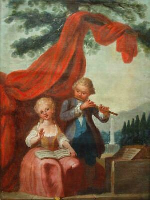 """""""The Musicians"""" Francois Boucher Manner (1703-1770) 18th C Oil Painting On Board"""