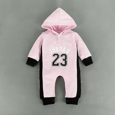 Baby Jordan 23 Romper +Hat Girl Long Sleeve Babygrow Outfits Clothes Pink 0-3 M