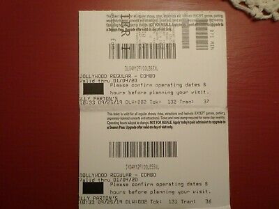 Dollywood Theme Park Tickets One Day Pass Pigeon Forge Tennessee Expire 01/04/20