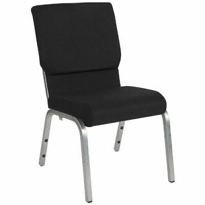 HERCULES Series 18.5''W Black Fabric Stacking Church Chair with 4.25'' Thick