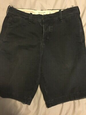 ABERCROMBIE & FITCH Navy Flat Front Button Fly Shorts Size 31