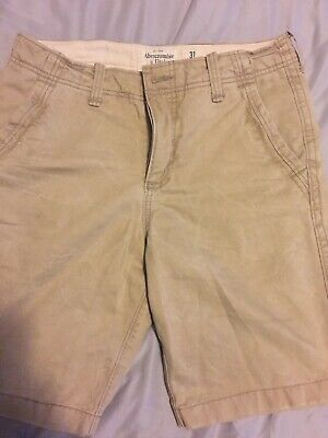 ABERCROMBIE & FITCH Button Fly Flat Front Khaki Shorts Size 31