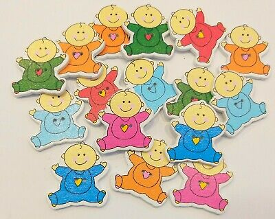 16 Wooden Baby Buttons-embellishments-crafts-Sewing-Scrap booking-mixed colours