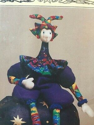 Cloth Doll Sewing Pattern - jester clown harlequin soft gift toy craft