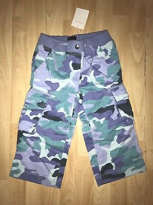 MINI BODEN  Girls  6-7-8 y Blue Aqua Camo Cotton Cropped Trouser SUMMER NEW BNWT