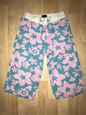 MINI BODEN  Girls 6-7-8 y Turq Blue Pink Floral Cotton Cropped Trouser SUMMER