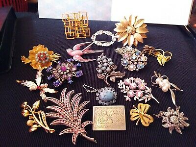 Job Lot Vintage Art Deco Costume Jewellery Brooches Crystal, Gold Tone silver 18