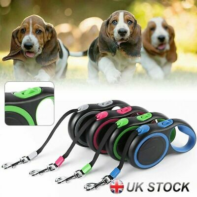 Retractable Dog Lead Extending Leash Tape Cord 3m 5m 8m Dog Safe Rope