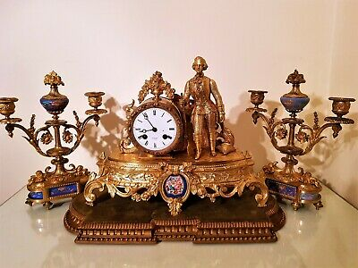 Antique French Ormolu & Porcelain Panel Mantel Clock.