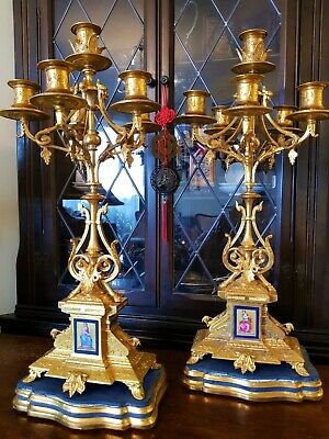 French Mantel Clock Garniture a Pair of Gilt 6 Branch Candelabra.