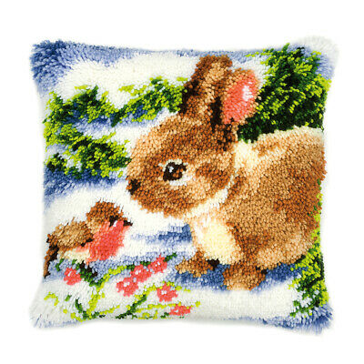 VERVACO|Latch Hook Kit: Cushion: Winter Scene Rabbit and Robin|PN-0014136