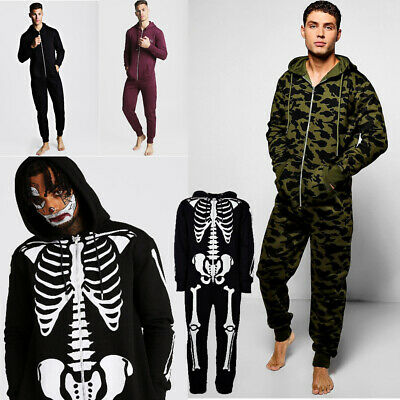 Mens All In One Jumpsuit Zipped Hooded Halloween Costume One Piece Fleece Suit