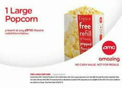 AMC 1 Large Popcorn and 2 Drinks Expires 06/30/2020