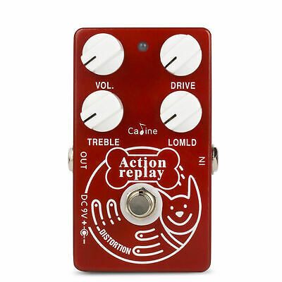 Caline CP-74 Red Action Replay Distortion Guitar Effect Pedal with True Bypass