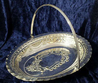 Antique Silver Plated Cake / Fruit Basket Victorian Repousse James Dixon & Sons
