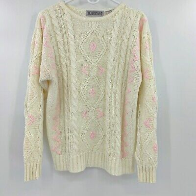 Vintage Worthington Pink Cream Cable Knit Pull Over Sweater Women's M
