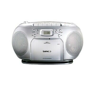 Lenco SCD420CD silber CD-Kassettenradio mit Repeat, LCD-Multifunktionsdisplay