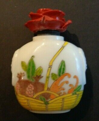 Chinese Snuff Bottle - Hand Enameled Glass with Custom Lacquer Top and Spoon
