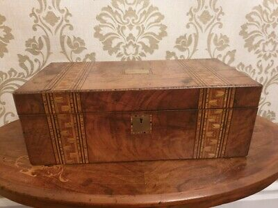 A 19th Century Walnut And Parquetry Greek Key Inlaid Writing Slope