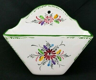 Vintage Italian Ceramic Wall Pocket Porcelain Hand Painted Floral  6 3/4""