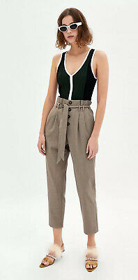 Zara Checked Tailored Paper Bag High Waist Trousers / XS 8 10 / Brand New Tags